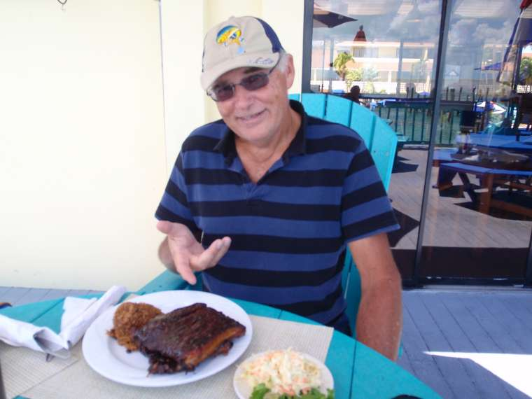 mmm - ribs with peas and rice and coleslaw (two popular side dishes in the Bahamas)