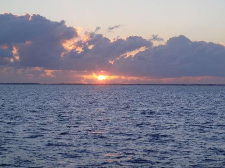 Sunrise over Bimini as we leave